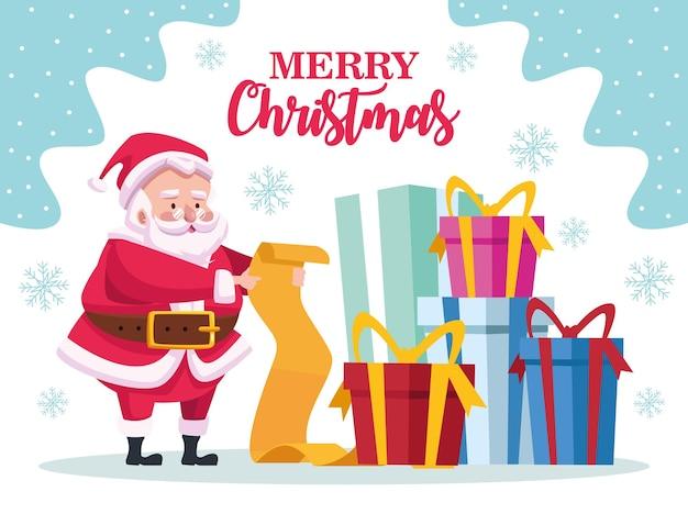 Leuke kerstman lezing geschenken lijst en stapel presenteert karakter illustratie
