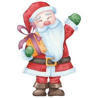 Leuke kerstman met cadeau.