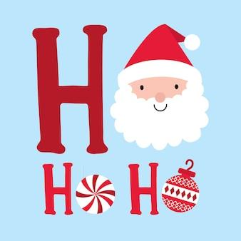 Leuke kerstman met decoratieve tekst ho ho ho