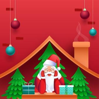 Leuke kerstman met geschenkdozen, kerstbomen in schoorsteenhuis en hangende kerstballen versierd op rode achtergrond.