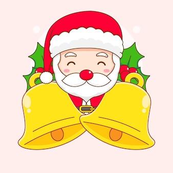 Leuke kerstman met grote gouden bel chibi-karakterillustratie