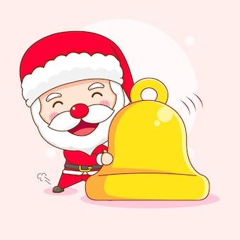 Leuke kerstman met grote ringbel chibi-karakterillustratie