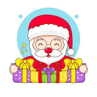 Leuke kerstman met illustratie van het chibi-karakter van de geschenkdoos