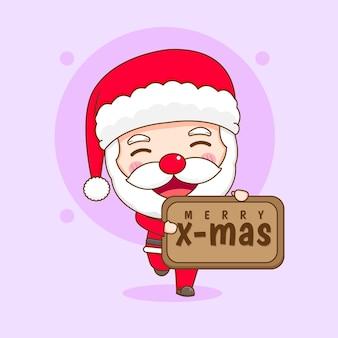 Leuke kerstman met kerstbord claus chibi karakter illustratie