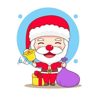Leuke kerstman met kerstcadeaudoos chibi-karakterillustratie