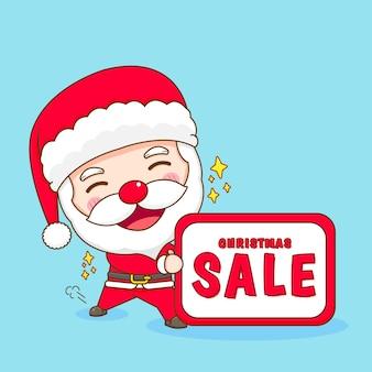 Leuke kerstman met kerstverkoopbord chibi-karakterillustratie