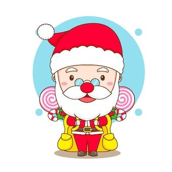 Leuke kerstman met rugzak en kerstsnoep chibi-karakterillustratie