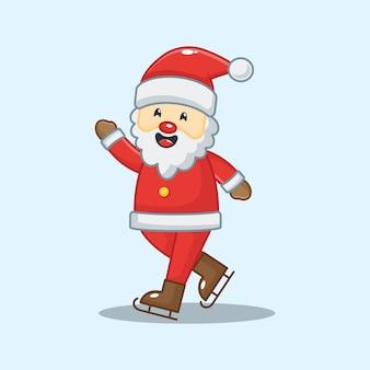 Leuke kerstman met skischoenen. kerst illustratie