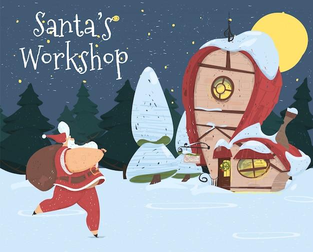 Leuke kerstman met tas loop naar werkplaatsgebouw