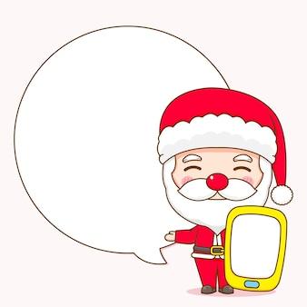 Leuke kerstman met telefoon en bubble chat claus chibi karakter illustratie