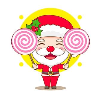 Leuke kerstman met twee grote snoep chibi-karakterillustratie
