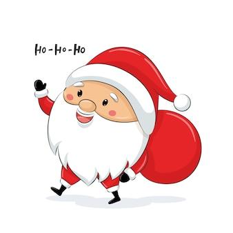 Leuke kerstman met zak. vrolijk kerstfeest.