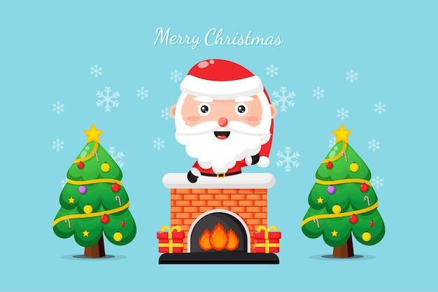 Leuke kerstman op de schoorsteen wenst u een vrolijk kerstfeest