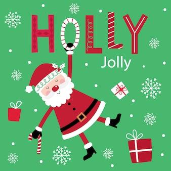 Leuke kerstman op het decoratieve vrolijke ontwerp van de teksthulst met rode en groene kleur