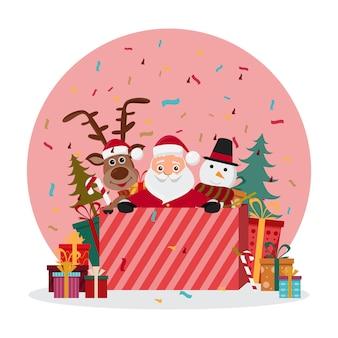 Leuke kerstman tekens in verschillende emoties.
