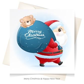 Leuke kerstman voor kerstmis met aquarel kaart