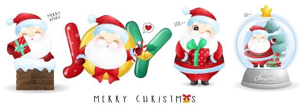 Leuke kerstman voor vrolijke kerstillustratieset