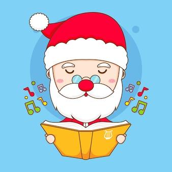 Leuke kerstman zingt een lied chibi karakter illustratie