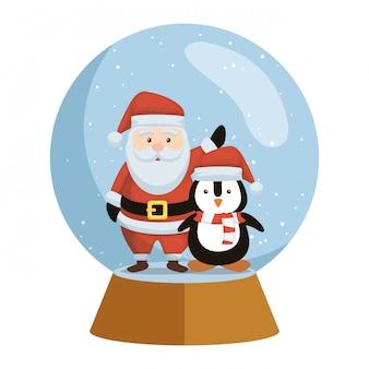 Leuke kerstmis de kerstman en pinguïn