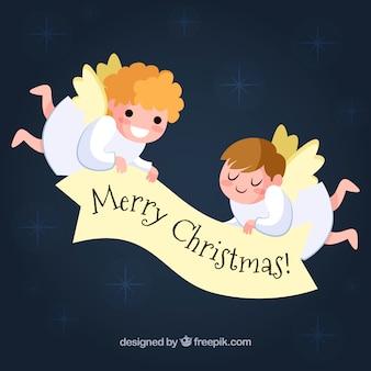 Leuke kerstmisachtergrond met twee engelen