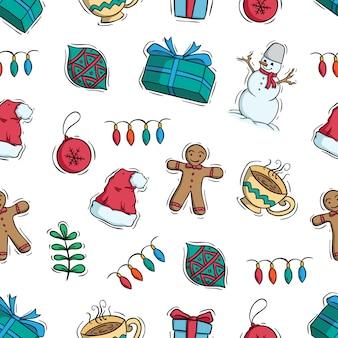 Leuke kerstmisdecoratie in naadloos patroon op witte achtergrond