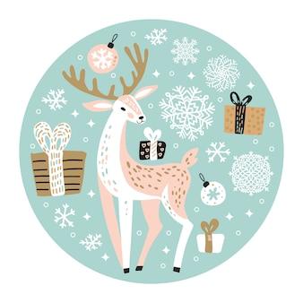 Leuke kerstmisillustratie met rendier
