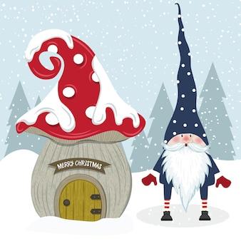 Leuke kerstmiskabouter en haar paddestoelhuis. plat ontwerp.