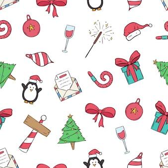 Leuke kerstmispictogrammen in naadloos patroon met gekleurde hand getrokken stijl