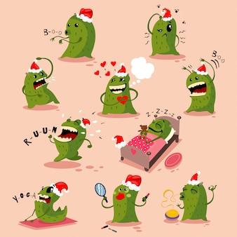Leuke kerstmonsters in kerstmuts. vector cartoon tekenset geïsoleerd