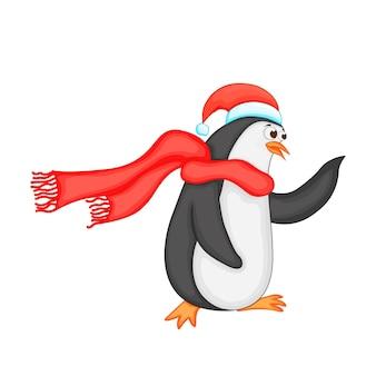 Leuke kerstpinguïn. cartoon vectorillustratie. eps