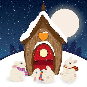 Leuke kerstscène met kabouterhuis en gelukkige konijntjes
