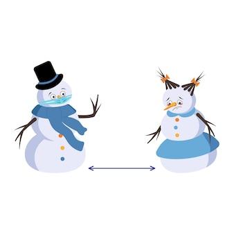 Leuke kerstsneeuwman en sneeuwvrouw met droevige emoties, gezicht en masker houden afstand, armen en benen. vrolijke nieuwjaars feestelijke decoratie