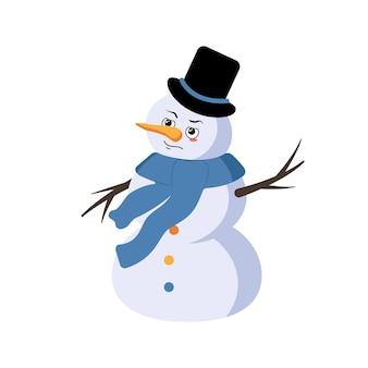 Leuke kerstsneeuwman met emoties van een held een dapper gezicht armen en benen vrolijk nieuwjaar feestelijk de ...