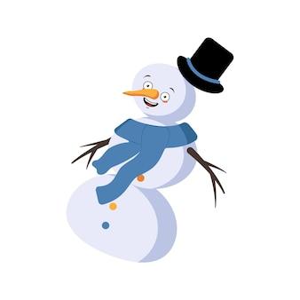 Leuke kerstsneeuwman met vrolijke emoties, lachgezicht, dansen, gelukkige ogen, armen en benen. vrolijke nieuwjaars feestelijke decoratie met vriendelijke uitdrukking