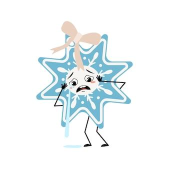 Leuke kerstsneeuwvlok met huilen en tranen emotie, droevig gezicht, depressieve ogen, armen en benen. vrolijke nieuwjaars feestelijke decoratie met met depressieve uitdrukking