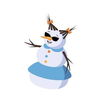 Leuke kerstsneeuwvrouw met bril en vrolijke emoties, glimlachgezicht, gelukkige ogen, armen en benen. nieuwjaars feestelijke decoratie met vriendelijke uitdrukking