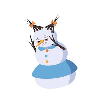 Leuke kerstsneeuwvrouw met droevige emoties, depressief gezicht, neerwaartse ogen, armen en benen. vrolijke nieuwjaars feestelijke decoratie met depressieve uitdrukking
