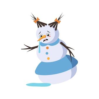 Leuke kerstsneeuwvrouw met huilen en tranen emotie, droevig gezicht, depressieve ogen, armen en benen. vrolijke nieuwjaars feestelijke decoratie met depressieve uitdrukking