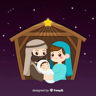 Leuke kerststal illustratie