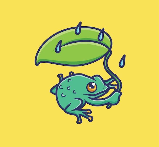 Leuke kikker die een blad houdt als paraplu als het regent. cartoon dierlijke natuur concept geïsoleerde illustratie. vlakke stijl geschikt voor sticker icon design premium logo vector. mascotte karakter