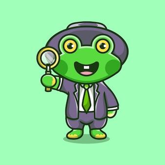 Leuke kikkerdetective die een vergrootglas draagt