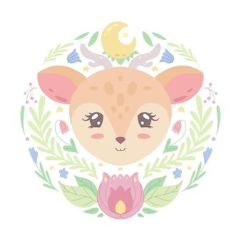 Leuke kinderachtige illustratie van een klein mooi hert in plantdecoratie. het babydier