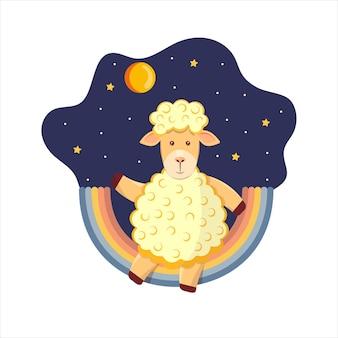 Leuke kinderachtige illustratie van een lam op een regenboog, rond een ster, nachthemel, maan. vectorillustratie voor kinderkamer, sticker.