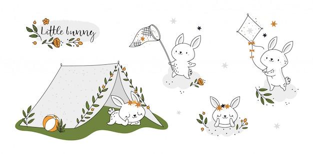 Leuke kinderachtige set met baby bunny dier. kleine konijn in zomervakantie collectie