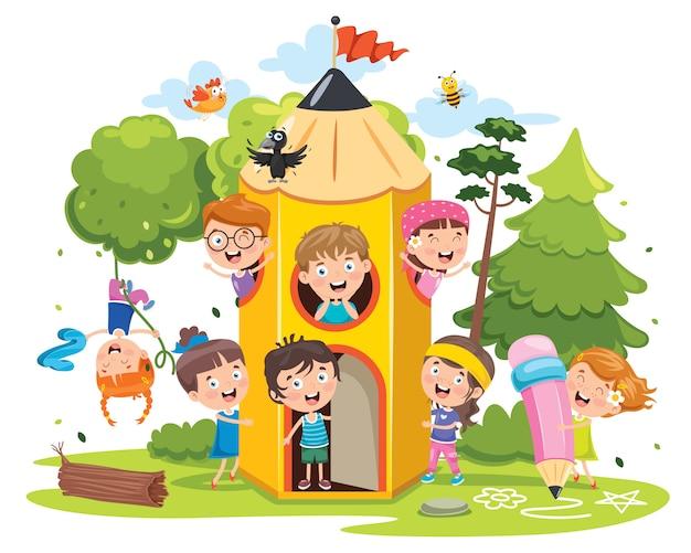 Leuke kinderen die bij potloodhuis spelen
