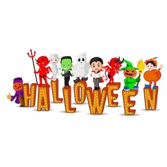 Leuke kinderen die halloween-kostuums dragen Premium Vector