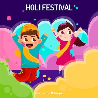 Leuke kinderen holi festival achtergrond