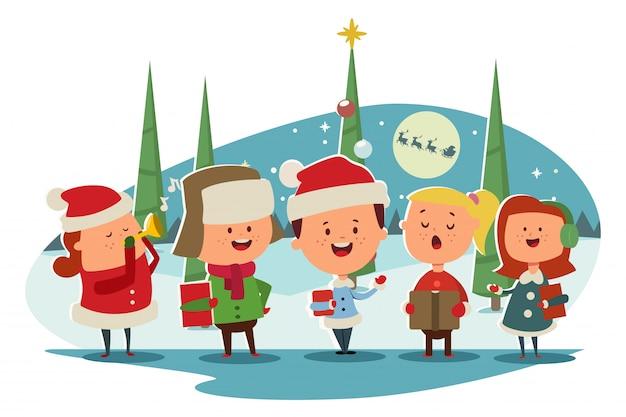 Leuke kinderen koor zingen kerstliederen cartoon