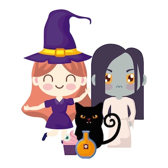 Leuke kinderen vermomd in halloween