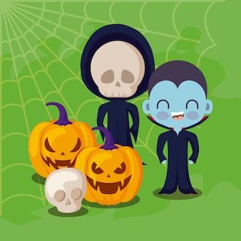 Leuke kinderen vermomd met pictogrammen halloween